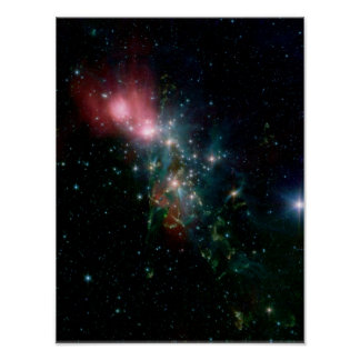NGC 1333 Chaotic birth of stars Poster