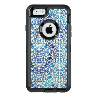 Niagara and Lapis Blue Batik Shibori Damask OtterBox Defender iPhone Case