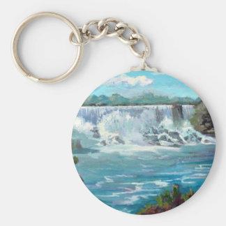 Niagara falls basic round button keychain