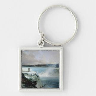 Niagara Falls, c.1837-40 (oil on canvas) Silver-Colored Square Keychain