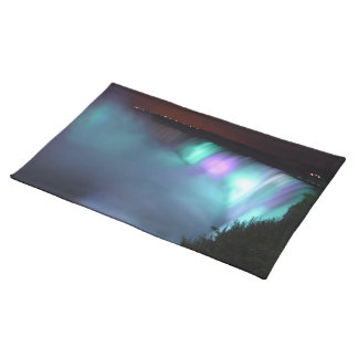 Niagara Falls Canada Night Purple Aqua Placemat