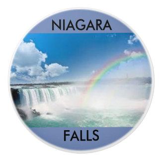Niagara Falls on a ceramic door knob