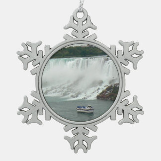Niagara Falls on the Canadian Side Pewter Snowflake Ornament