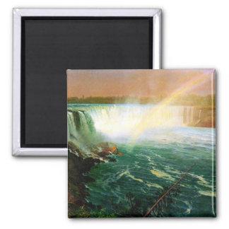 Niagara falls painting art artist Albert Bierstadt Square Magnet