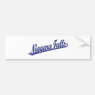 Niagara Falls script logo in blue distressed Bumper Sticker