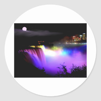 Niagara-Falls-under-floodlights-at-night Round Sticker