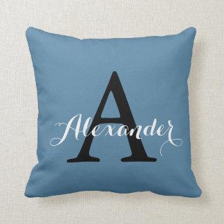 Niagara Ocean Denim Blue Solid Color Monogram Throw Pillow