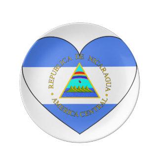 Nicaragua Flag Heart Porcelain Plates