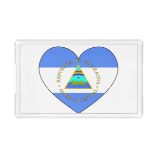 Nicaragua Flag Heart Serving Tray