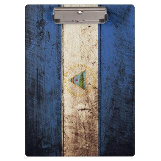 Nicaragua Flag on Old Wood Grain Clipboard