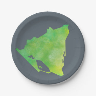 Nicaragua Map 7 Inch Paper Plate