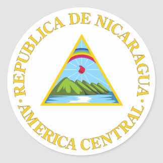 Nicaragua Official Coat Of Arms Heraldry Symbol Classic Round Sticker