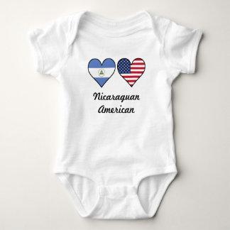 Nicaraguan American Flag Hearts Baby Bodysuit