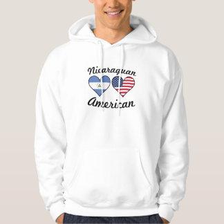 Nicaraguan American Flag Hearts Hoodie