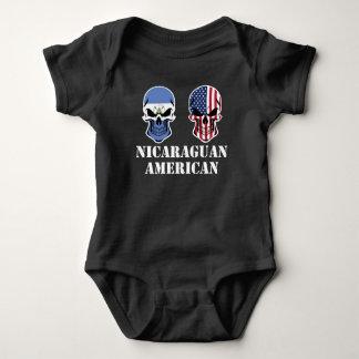 Nicaraguan American Flag Skulls Baby Bodysuit