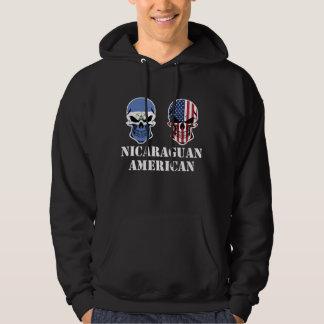 Nicaraguan American Flag Skulls Hoodie