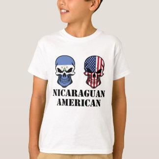 Nicaraguan American Flag Skulls T-Shirt