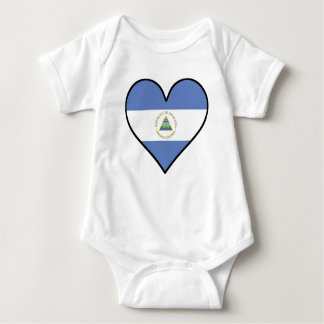 Nicaraguan Flag Heart Baby Bodysuit