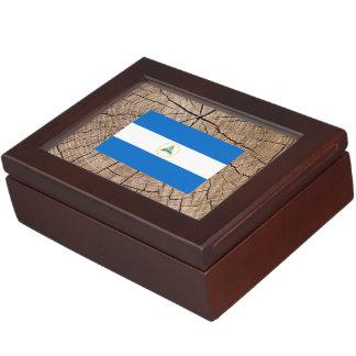 Nicaraguan flag on tree bark keepsake box
