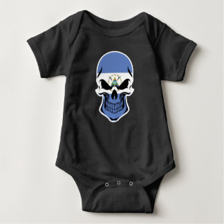 Nicaraguan Flag Skull Baby Bodysuit