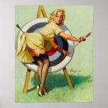 Nice Archery Shot - Retro Pin Up Girl Poster