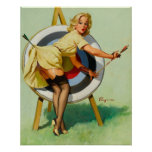 Nice Archery Shot - Retro Pin Up Girl Print