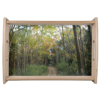 Nice Autumn Forest Path Serving Tray