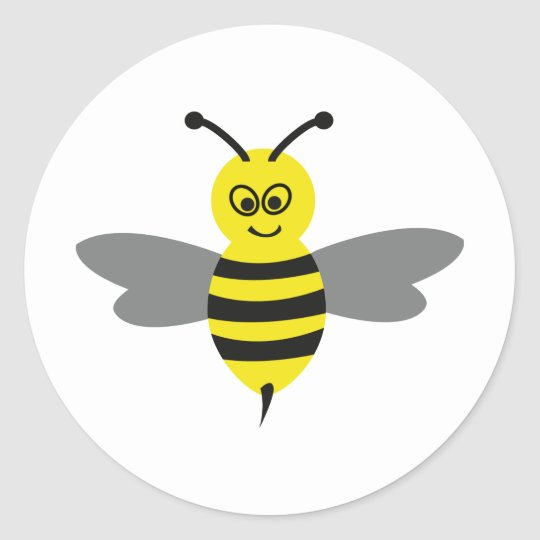 nice bee icon classic round sticker