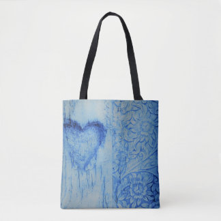 Nice Blue heart and flowers All-Over-PrintTote Bag