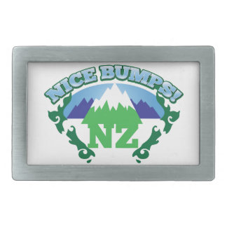 NICE BUMPS New Zealand map with mountains Belt Buckle