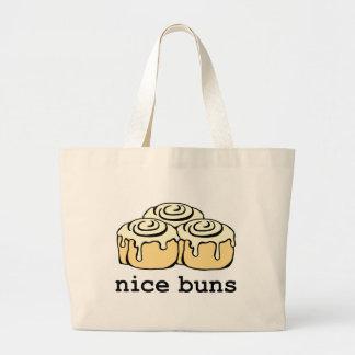 Nice Buns Cinnamon Roll Funny Cartoon Design Jumbo Tote Bag