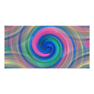 Nice candy swirl pattern with pink and purple personalized photo card