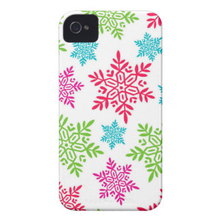 Nice Christmas Red, Green, pink, blue snowflakes iPhone 4 Covers