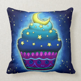 Nice Cupake with moon and stars Throw Pillow