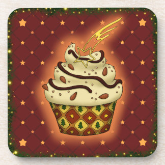 Nice Cupcake with almonds, chocolate Beverage Coaster