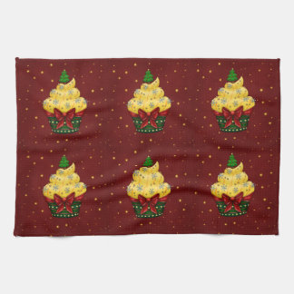 Nice Cupcake with Christmas tree Kitchen Towel