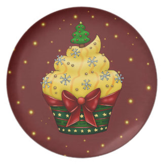 Nice Cupcake with Christmas tree Plate