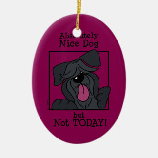 Nice dog - emergency but today ceramic oval ornament