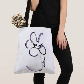 nice drawing small flower tote bag