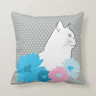 Nice flowers with cat line drawing throw pillow