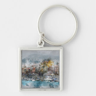 Nice France Silver-Colored Square Keychain