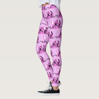 Nice French Bulldoggen in pink samples Leggings