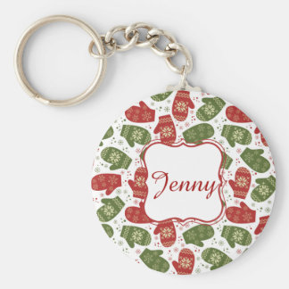 Nice fun red green Christmas Gloves and snowflakes Basic Round Button Keychain