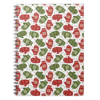 Nice fun red green Christmas Gloves and snowflakes Notebook