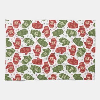 Nice fun red green Christmas Gloves and snowflakes Towel