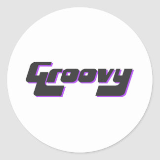 Nice Groovy Print Classic Round Sticker