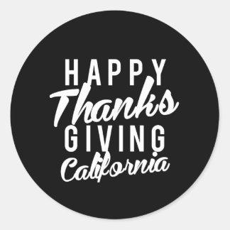 Nice Happy Thanks Giving California Print Classic Round Sticker