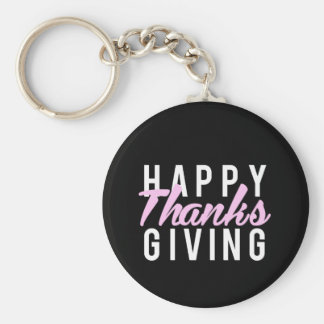Nice Happy Thanks Giving Print Keychain