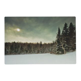 Nice hike over frozen lake in state of Vermont Laminated Place Mat