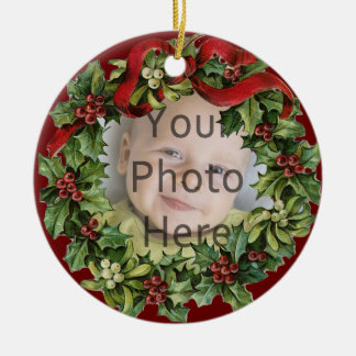 Nice Holly Wreath Baby's First Christmas Ornament